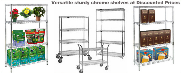 Wide range of Chrome Shelving units in stock for next day despatch.